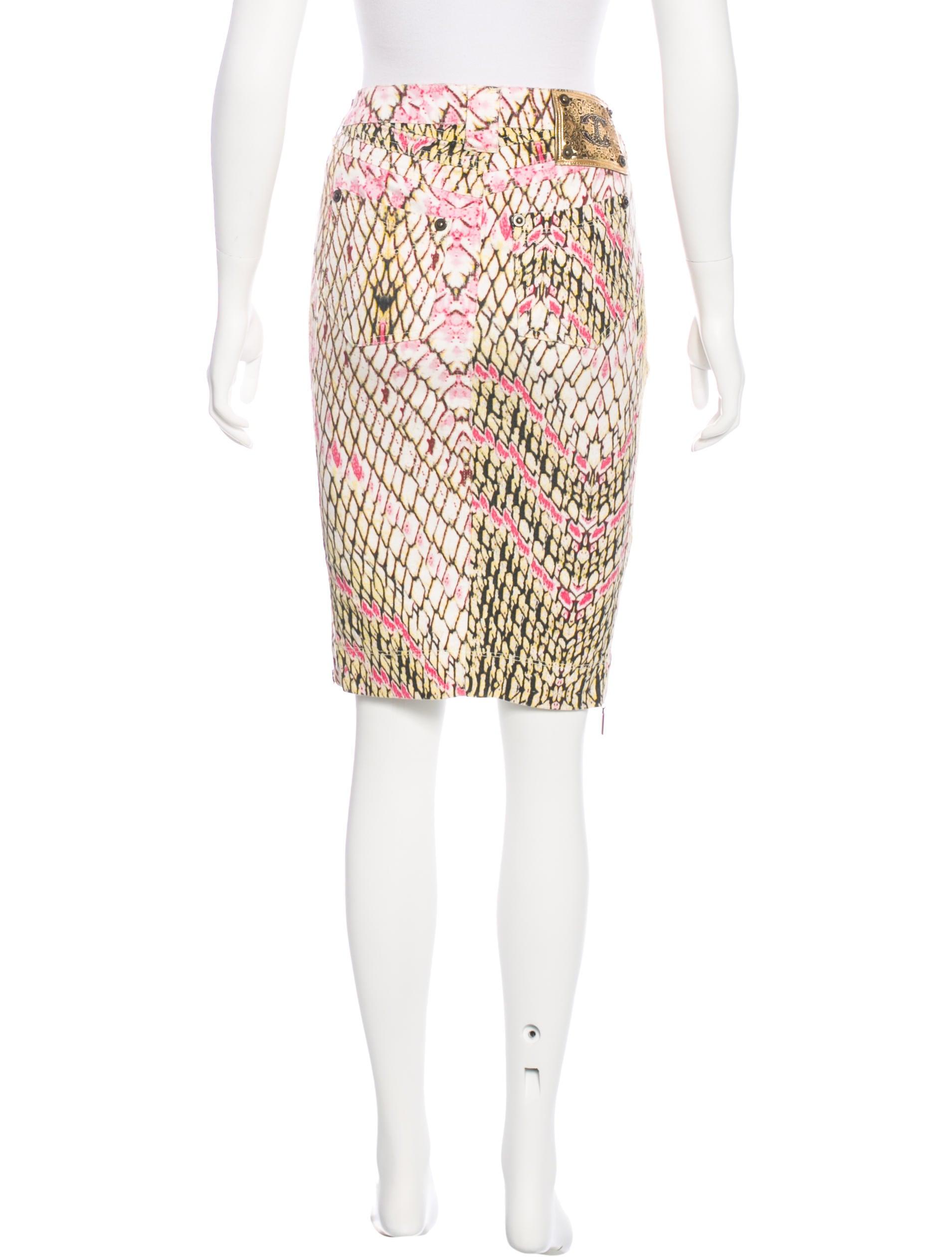 just cavalli printed denim skirt clothing wju28432