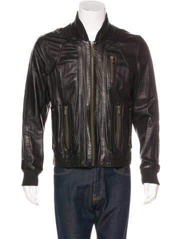 Just Cavalli Leather Rib Knit-Trimmed Jacket None