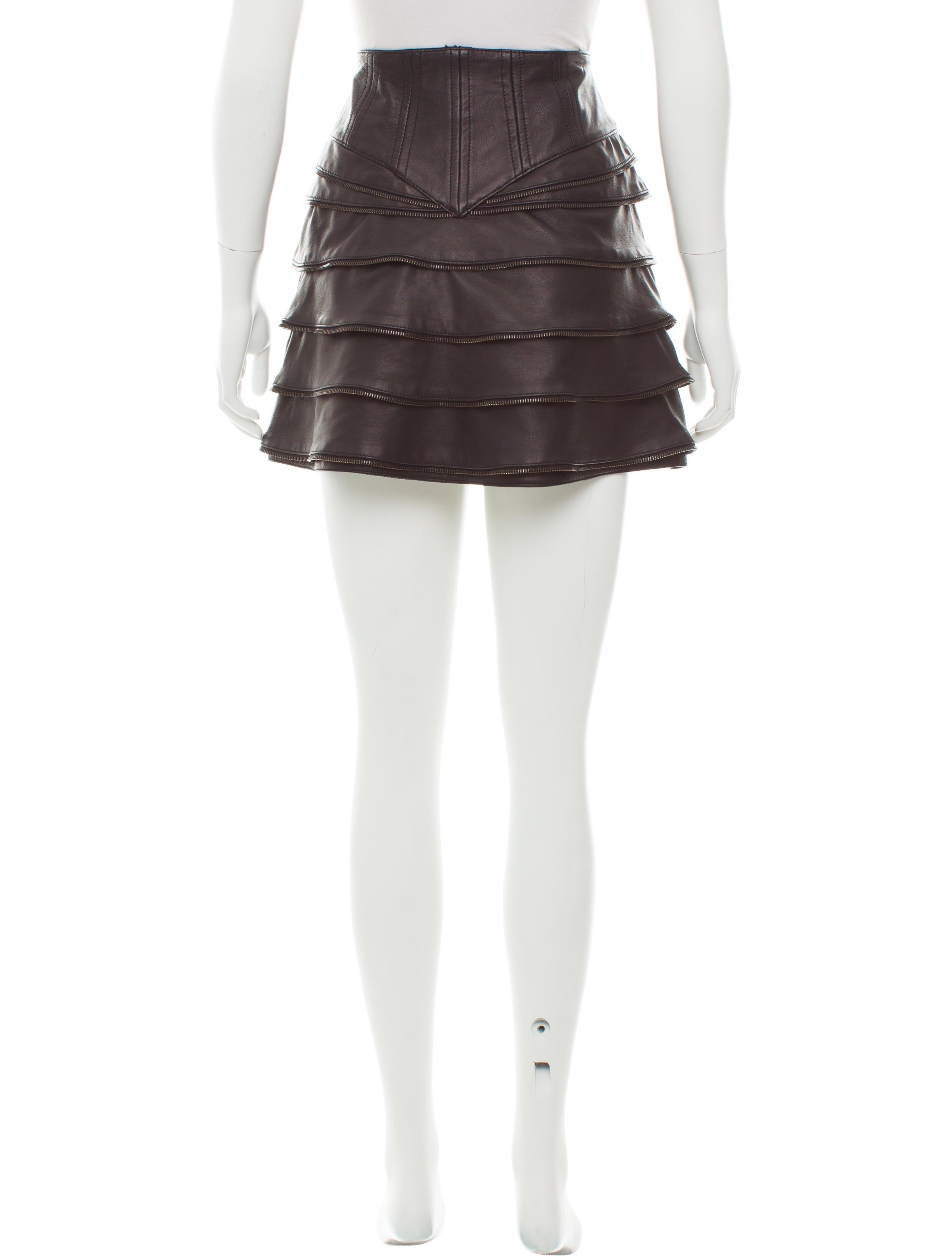 Just Cavalli Leather Mini Skirt - Clothing