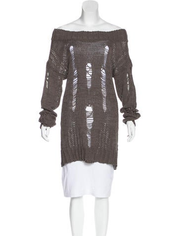 Just Cavalli Distressed Off-the-Shoulder Sweater None