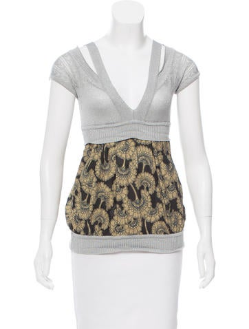 Just Cavalli Metallic Short Sleeve Top None
