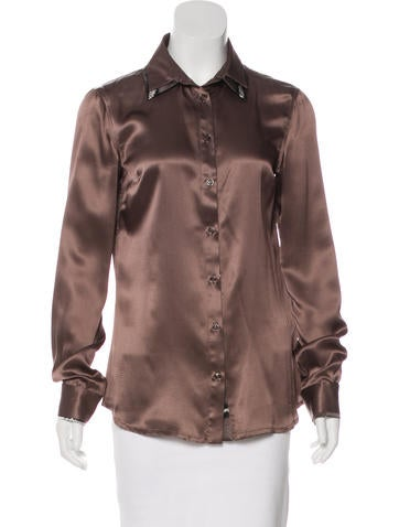 Just Cavalli Silk Button-Up Top None