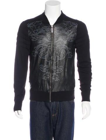 Just Cavalli Lambskin-Trimmed Zip Sweater None