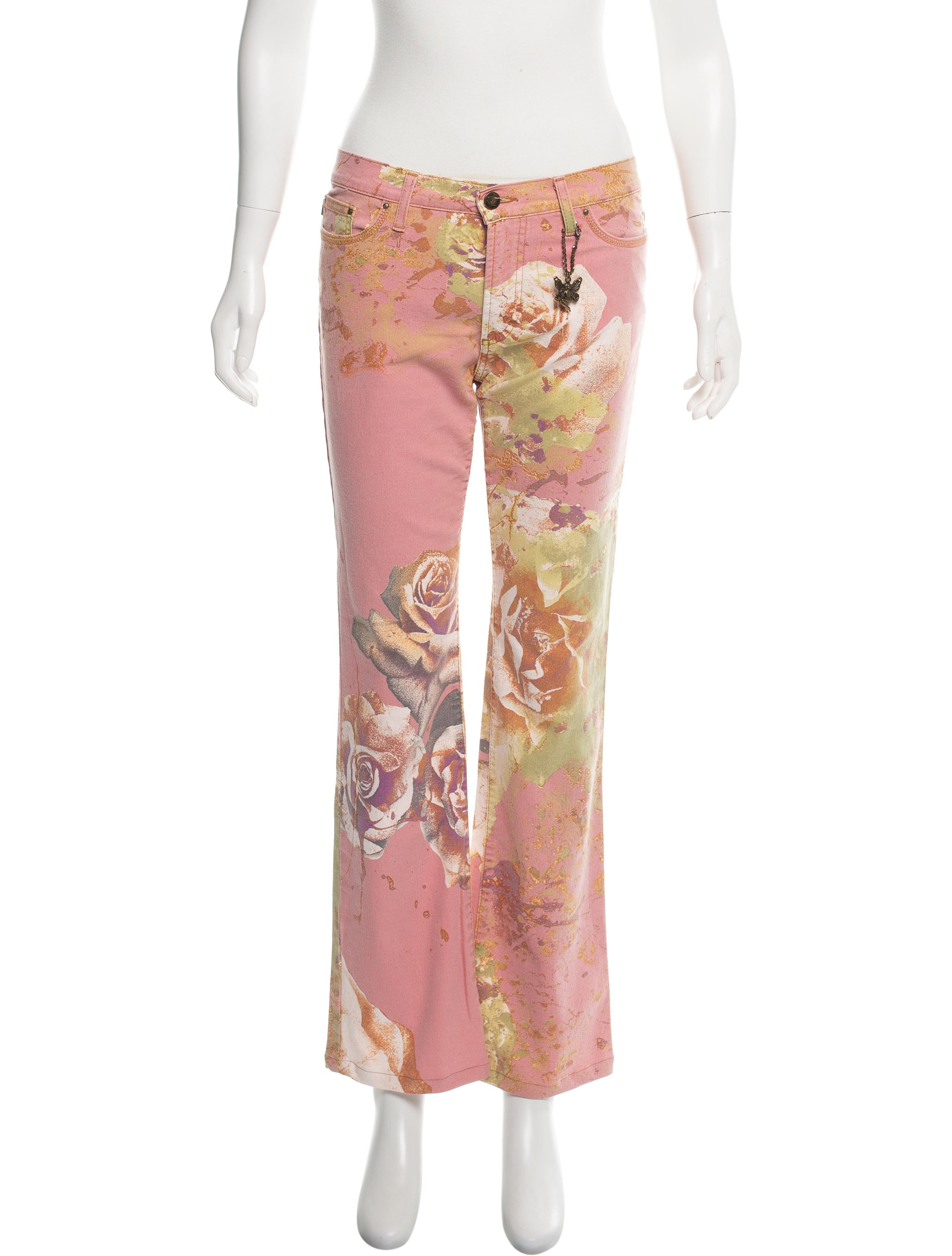 c383c93d4c443 Just Cavalli Floral Print Mid-Rise Jeans w/ Tags - Clothing ...