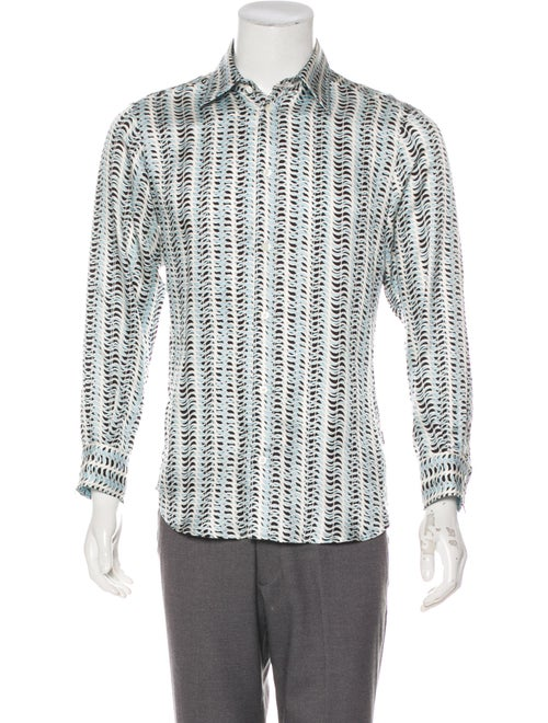 Just Cavalli Silk Geometric Dress Shirt white