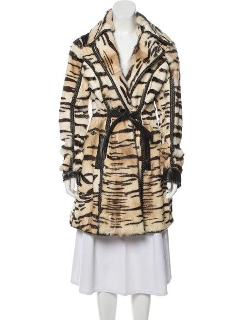 Just Cavalli Leather Animal Print Coat