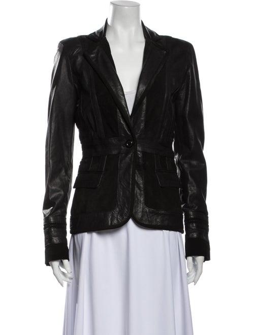Just Cavalli Leather Blazer Black