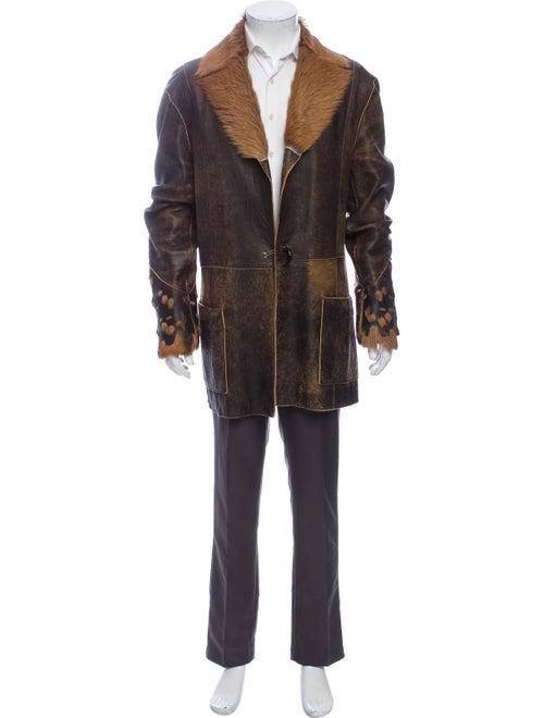 Just Cavalli Leather Jacket Brown