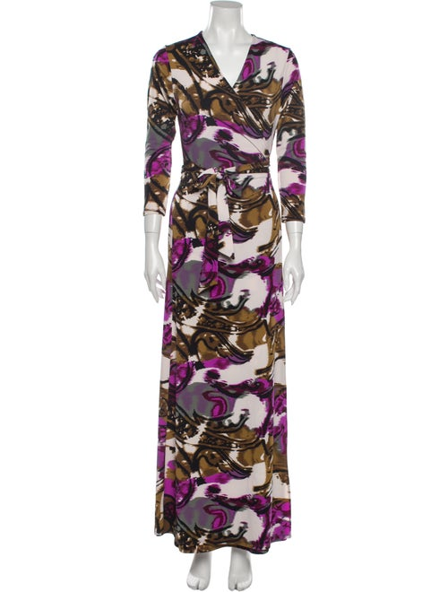 Julian Chang Printed Long Dress Purple