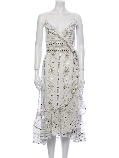 Juliet Dunn Lace Pattern Midi Length Dress White