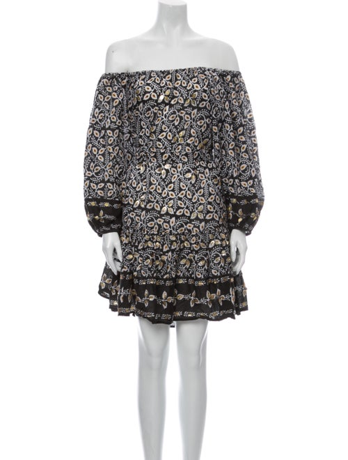 Juliet Dunn Printed Mini Dress Brown