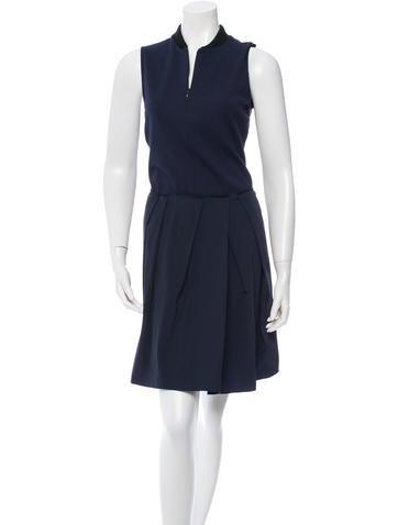 Jil Sander Navy Pleated Sleeveless Dress None