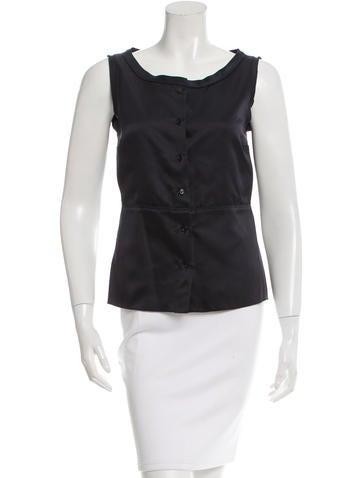 Jil Sander Navy Sleeveless Button-Up Blouse