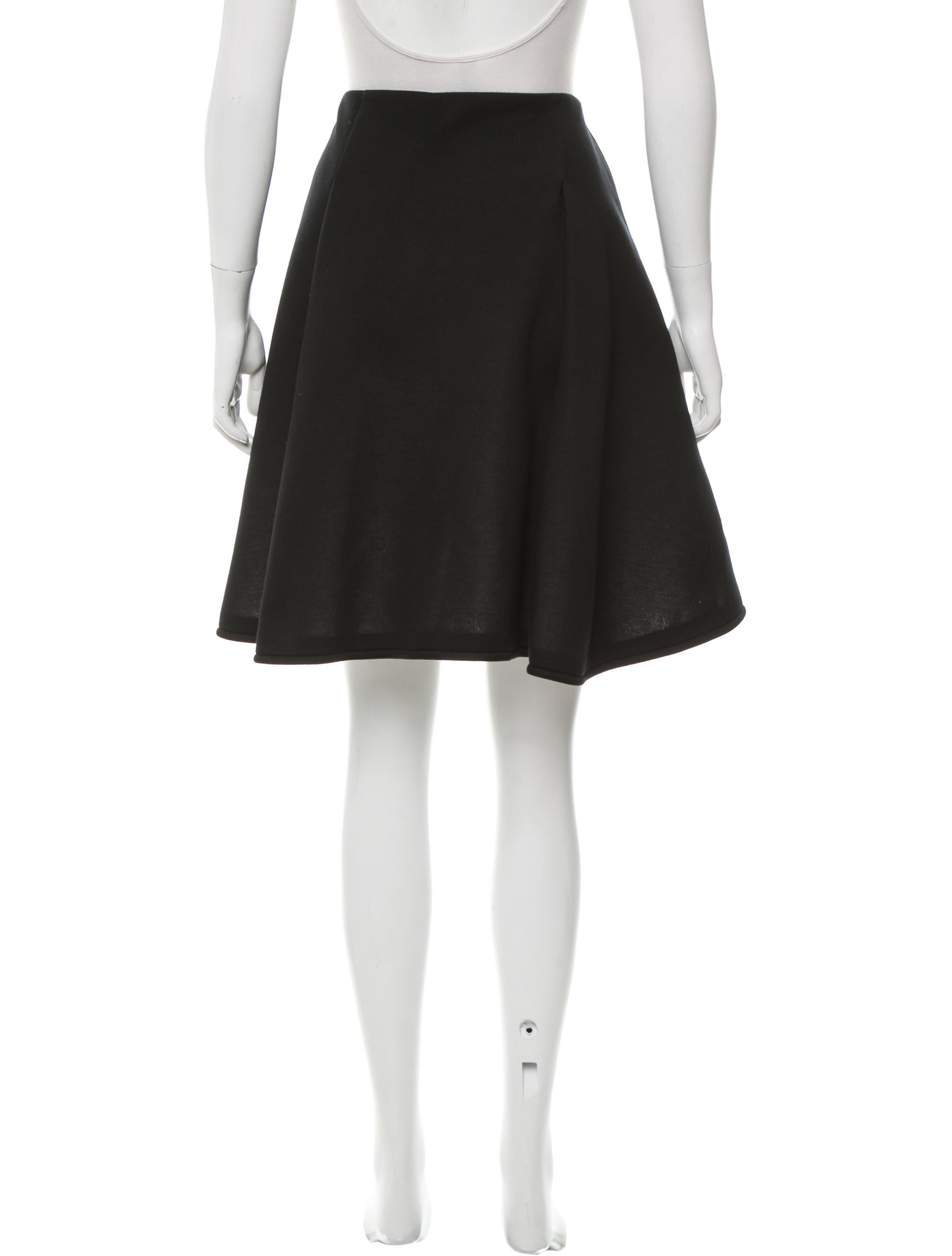jil sander navy pleated knee length skirt clothing
