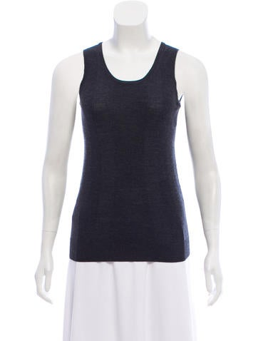 Jil Sander Navy Wool Sleeveless Top w/ Tags None