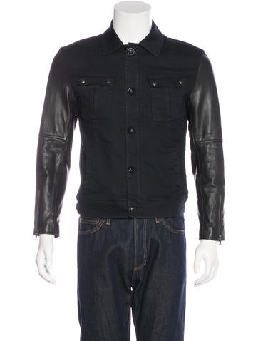 John Varvatos Star U.S.A. Leather-Trimmed Trucker Jacket None