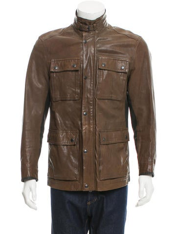 John Varvatos Star U.S.A. Leather Utility Jacket None