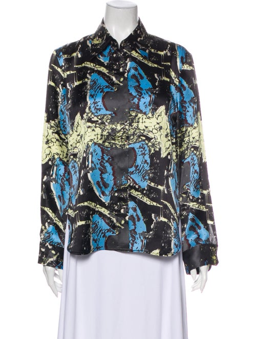 Jnby Silk Printed Button-Up Top Black