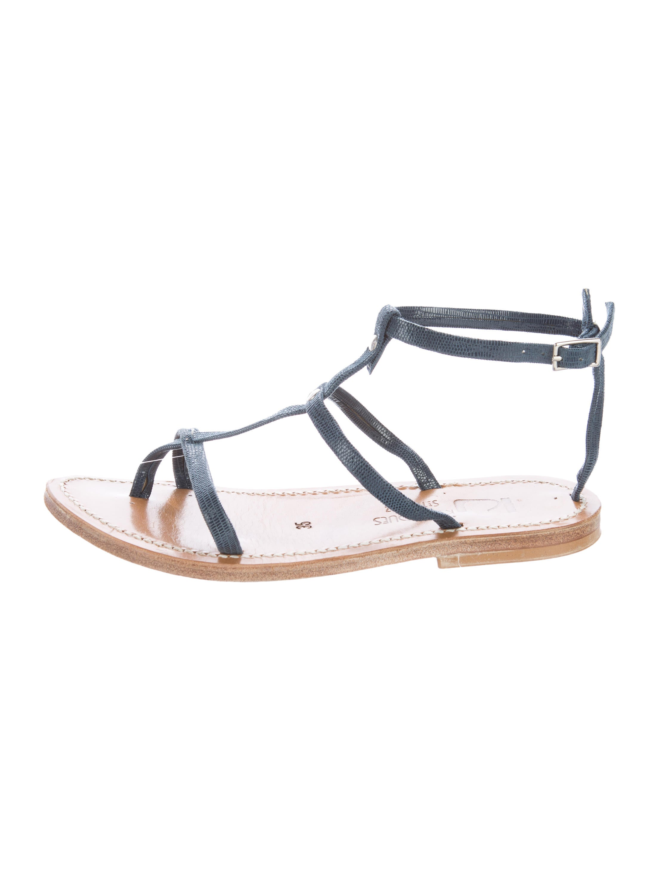 K Jacques St. Tropez Embossed T-Strap Sandals cheap 100% guaranteed new cheap price best sale cheap price loXn2
