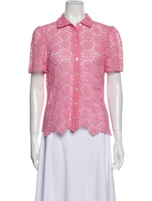 Kate Spade New York Lace Pattern Short Sleeve Button-Up Top