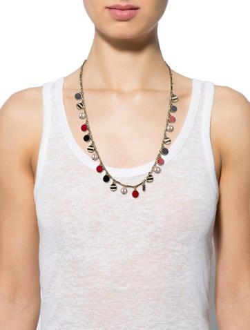 Enamel & Pearl Charm Necklace
