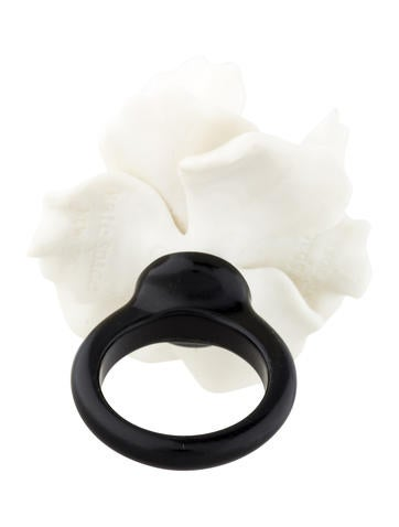 White Resin and Crystal Flower Ring