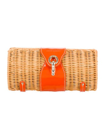 Wicker & Patent Leather Clutch
