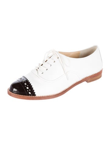 Pebbled Leather Cap-Toe Oxfords