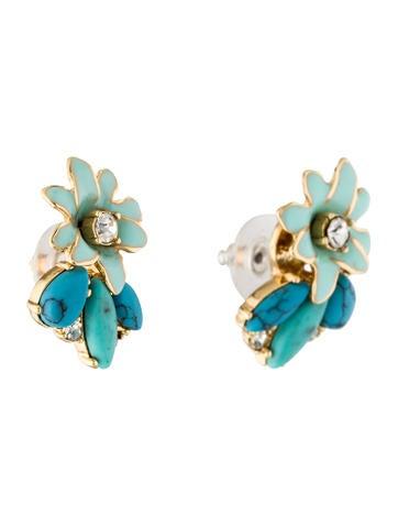 Turquoise & Enamel Flower Earrings