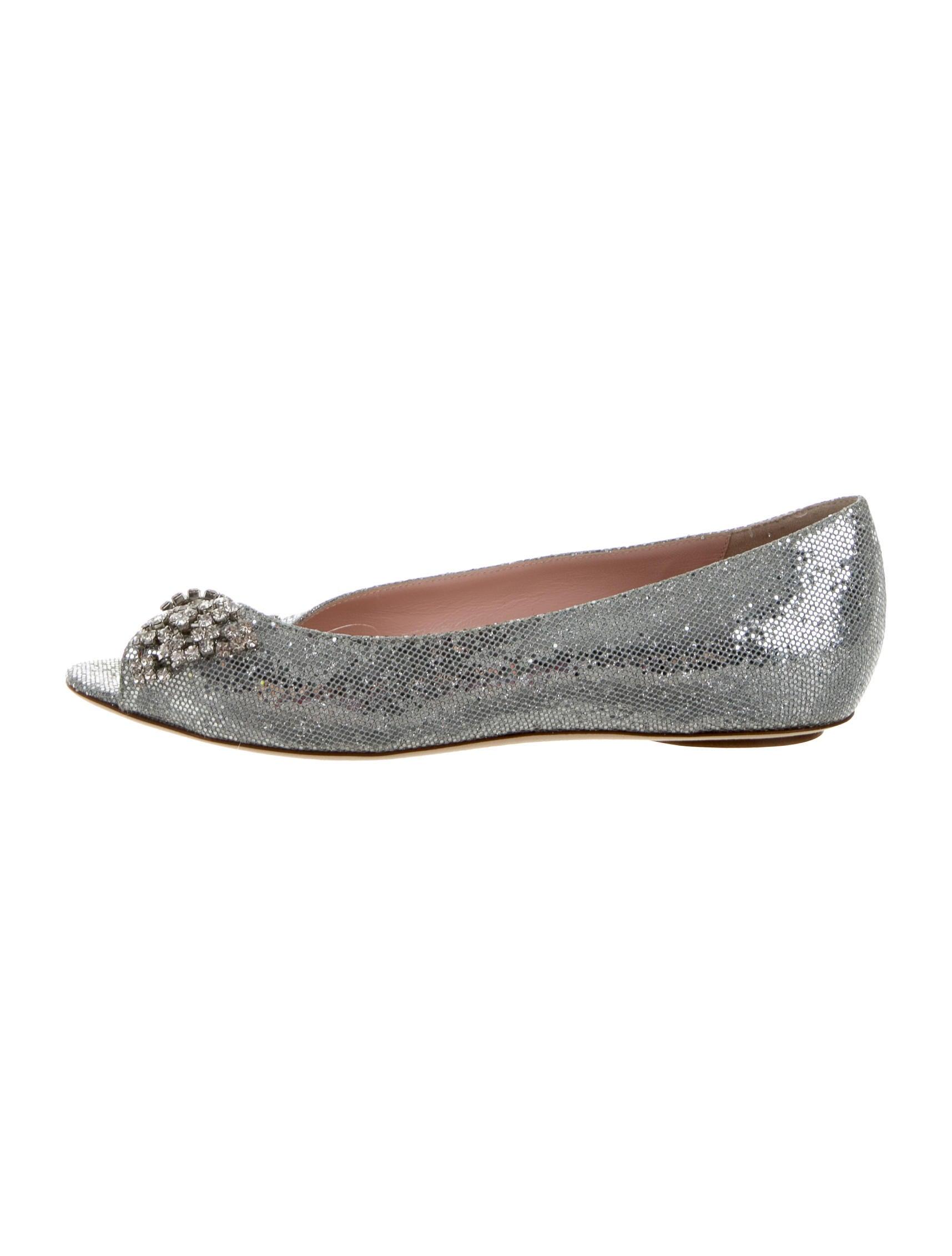 Kate spade new york metallic peep toe flats shoes for Kate spade new york flats