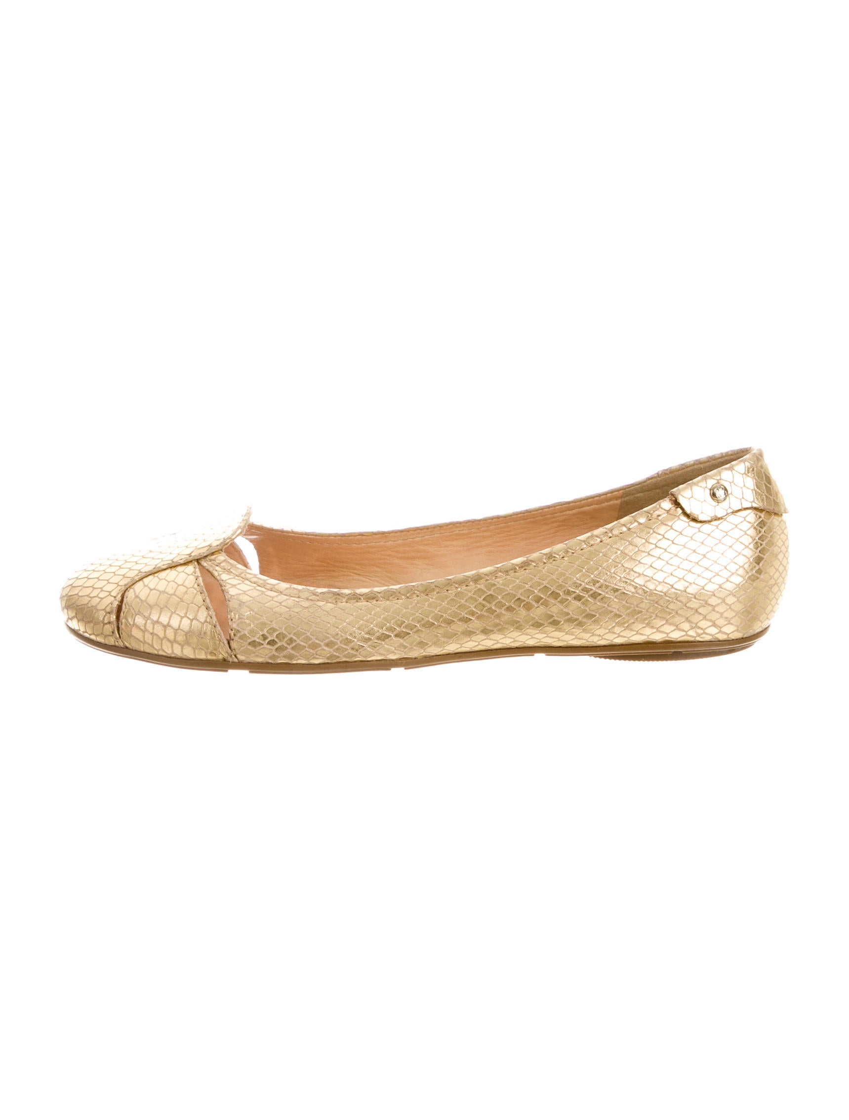 Kate spade new york metallic leather round toe flats for Kate spade new york flats