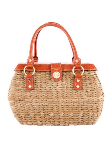 Leather-Trimmed Wicker Handle Bag
