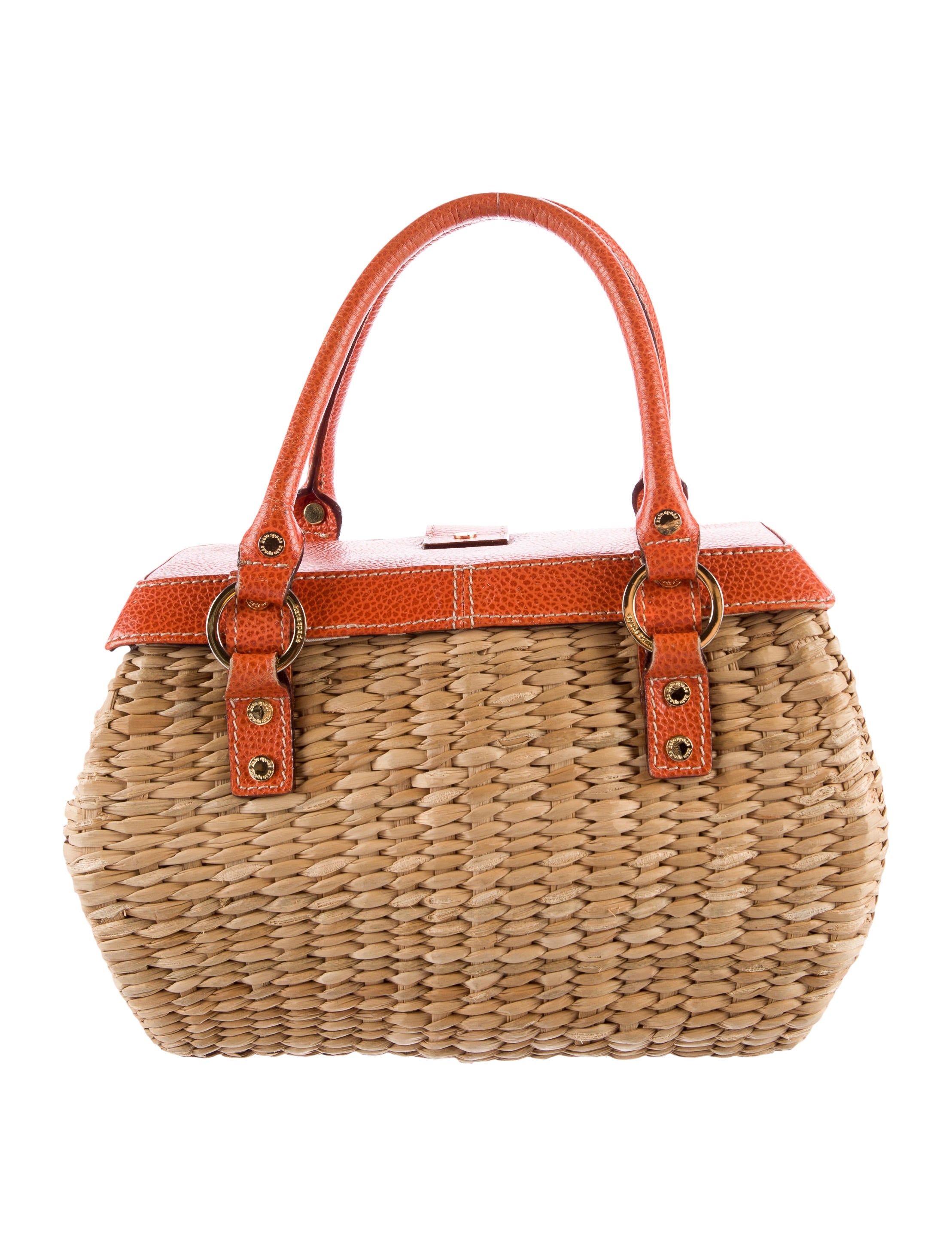 Kate Spade New York Leather Trimmed Wicker Handle Bag