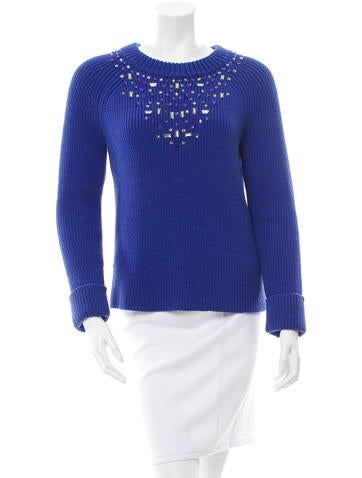 Kate Spade New York Embellished Rib Knit Sweater None