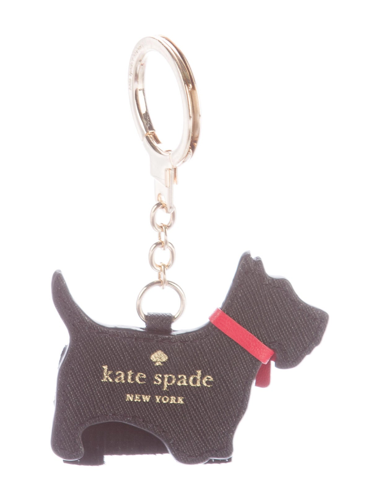kate spade new york saffiano yorkie keychain accessories wka47675 the realreal. Black Bedroom Furniture Sets. Home Design Ideas