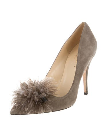 Suede Feather-Accented Pumps