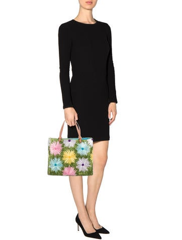 Floral Straw & Wicker Tote