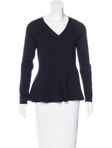 Kate Spade New York Rib Knit Peplum Top None
