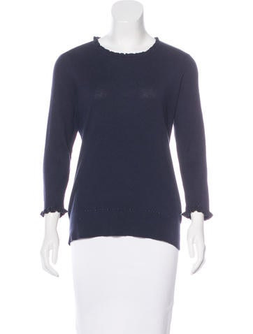 Kate Spade New York Ruffle-Trimmed Knit Sweater None
