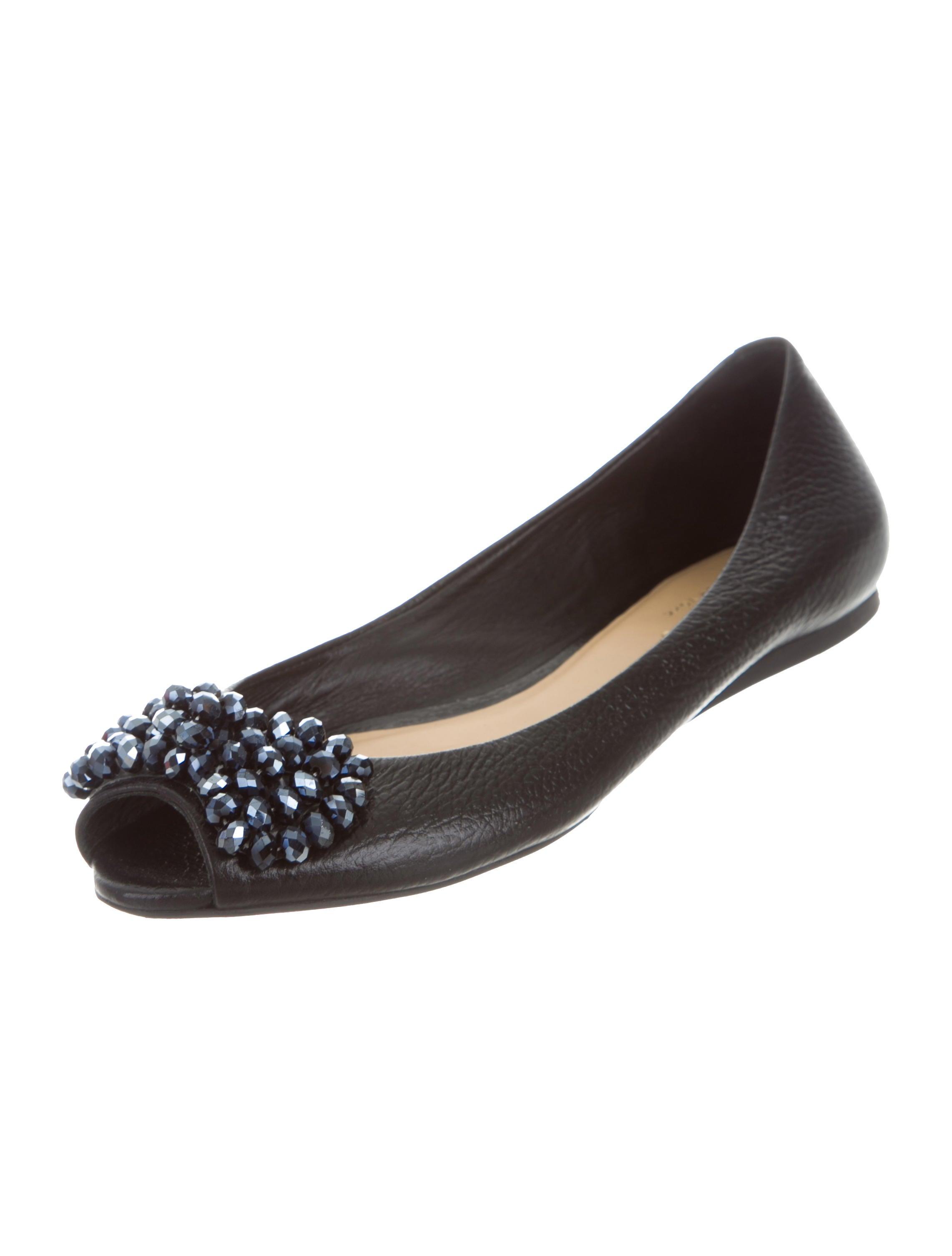 Kate spade new york leather peep toe flats shoes for Kate spade new york flats