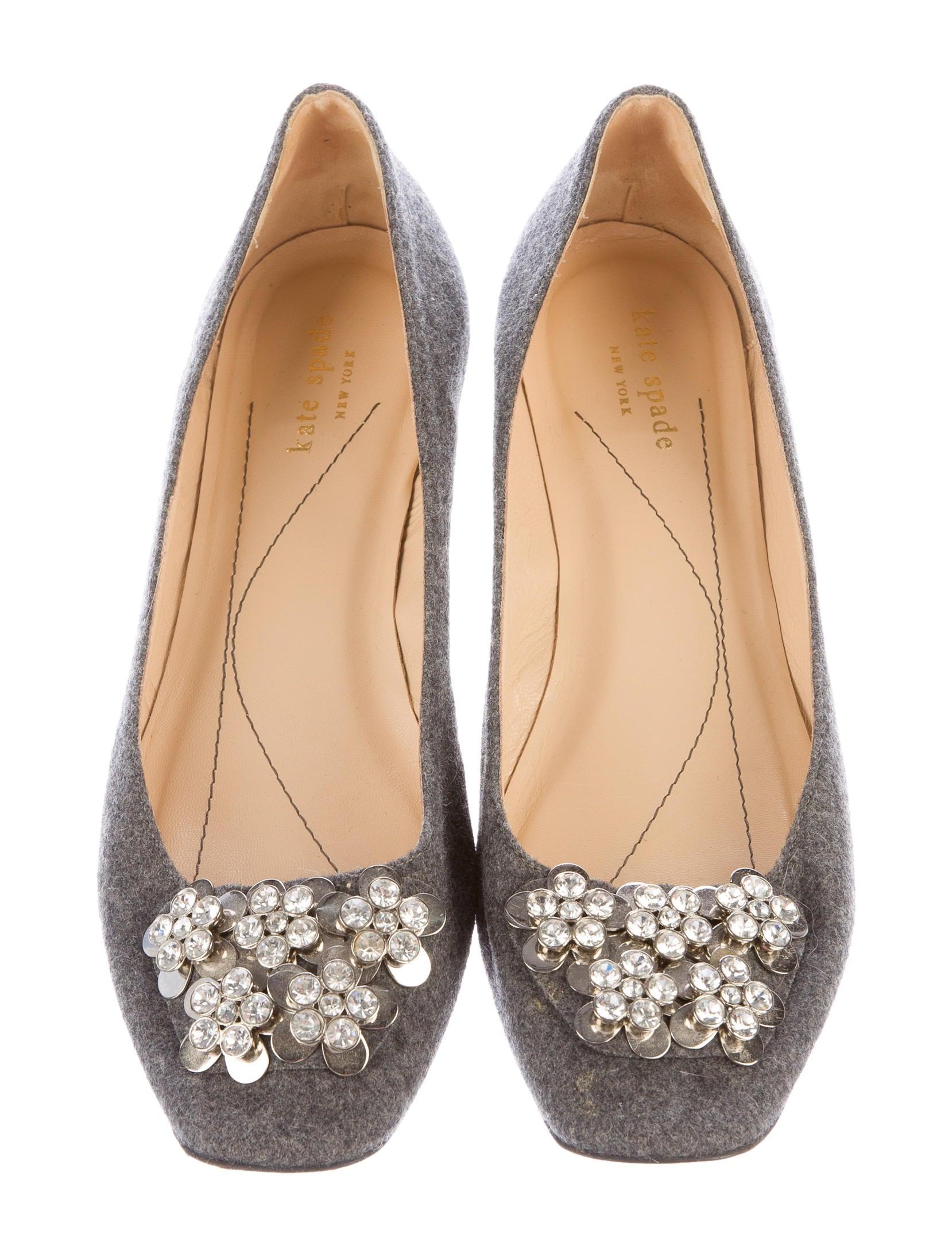Kate spade new york crystal embellished felt flats shoes for Kate spade new york flats