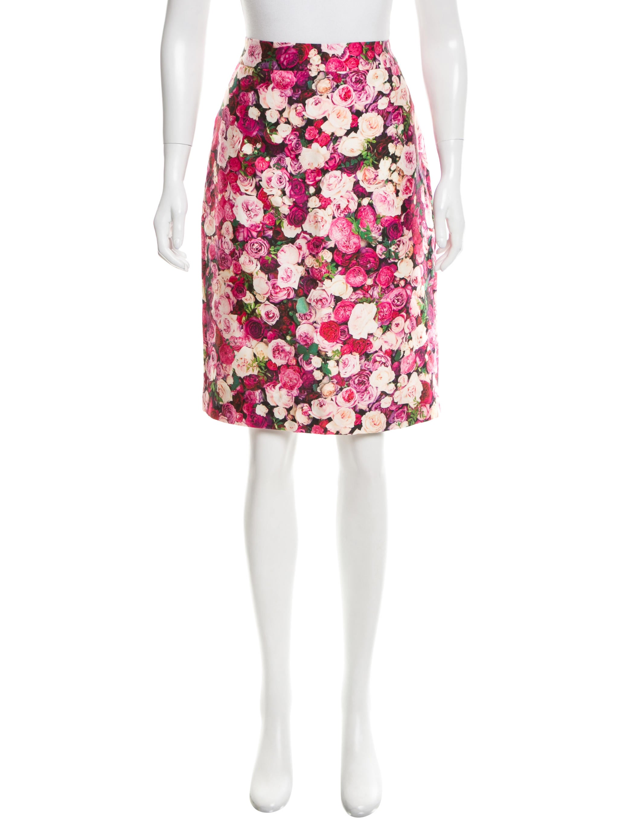 kate spade new york silk floral print knee length skirt w