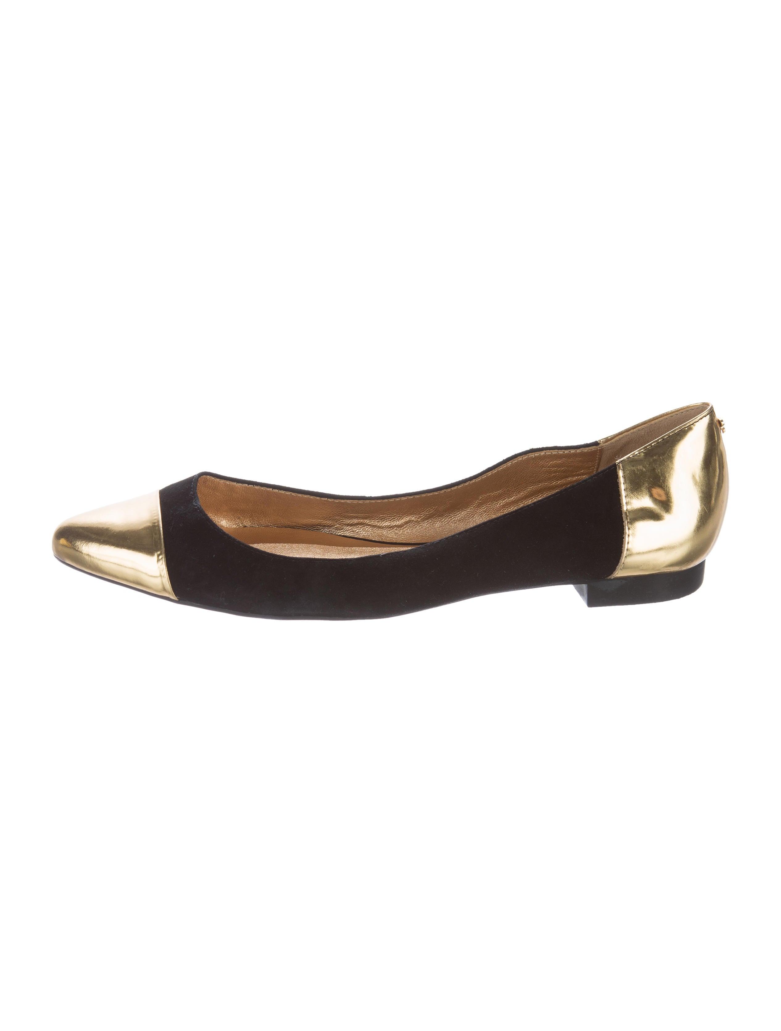 Kate spade new york metallic cap toe flats shoes for Kate spade new york flats
