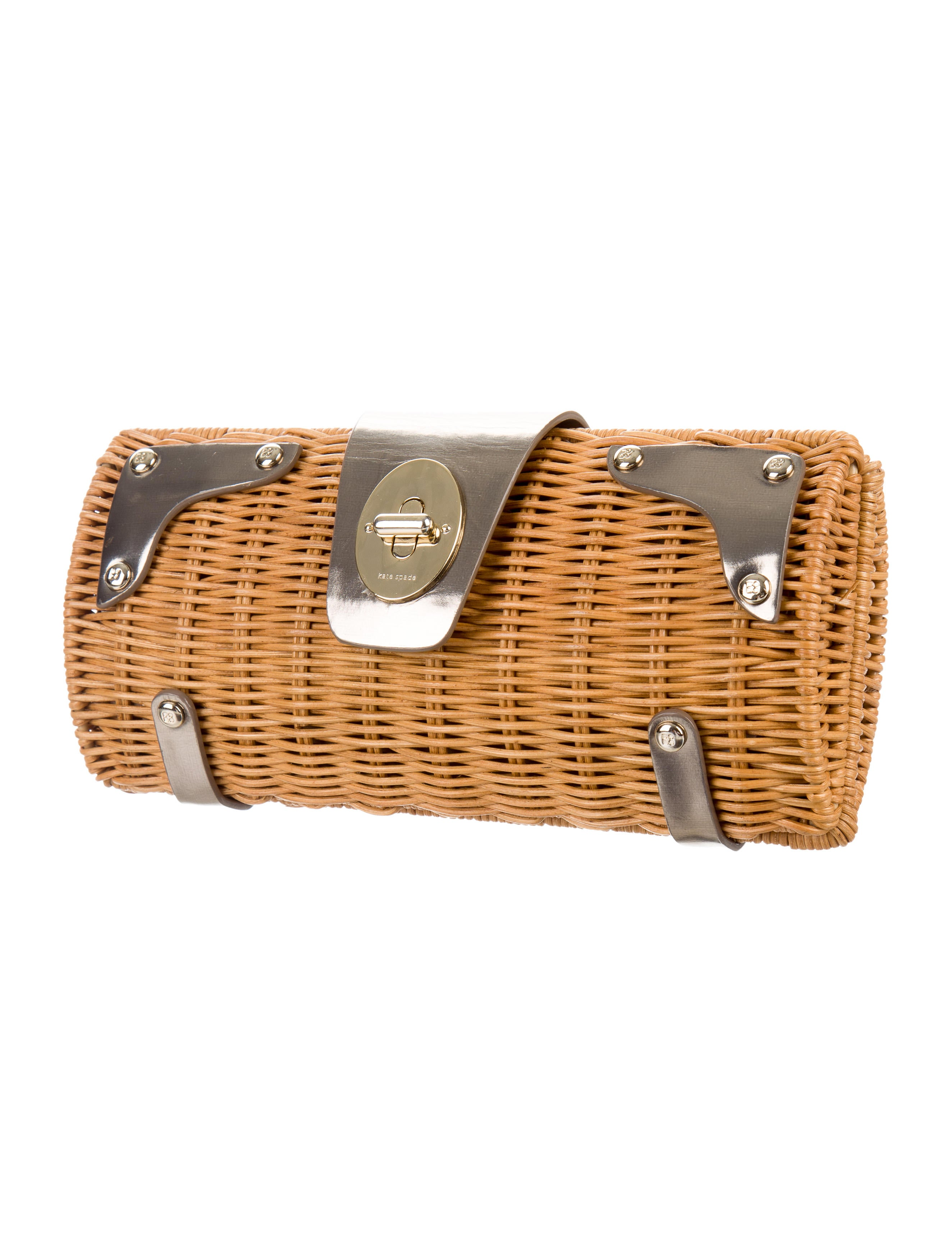 Kate Spade New York Leather Trimmed Wicker Clutch