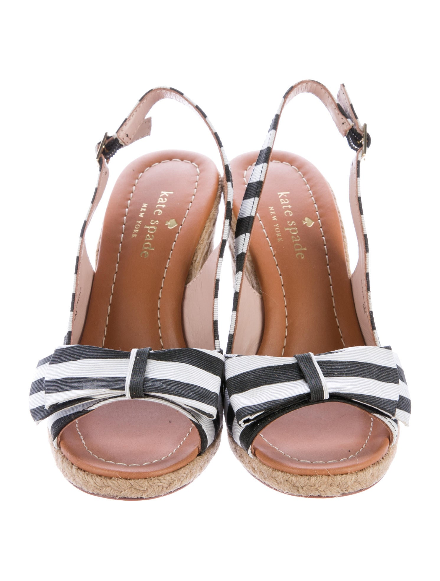 Kate Spade New York Striped Peep Toe Sandal Wedges Shoes  : WKA606203enlarged from www.therealreal.com size 1490 x 1967 jpeg 222kB