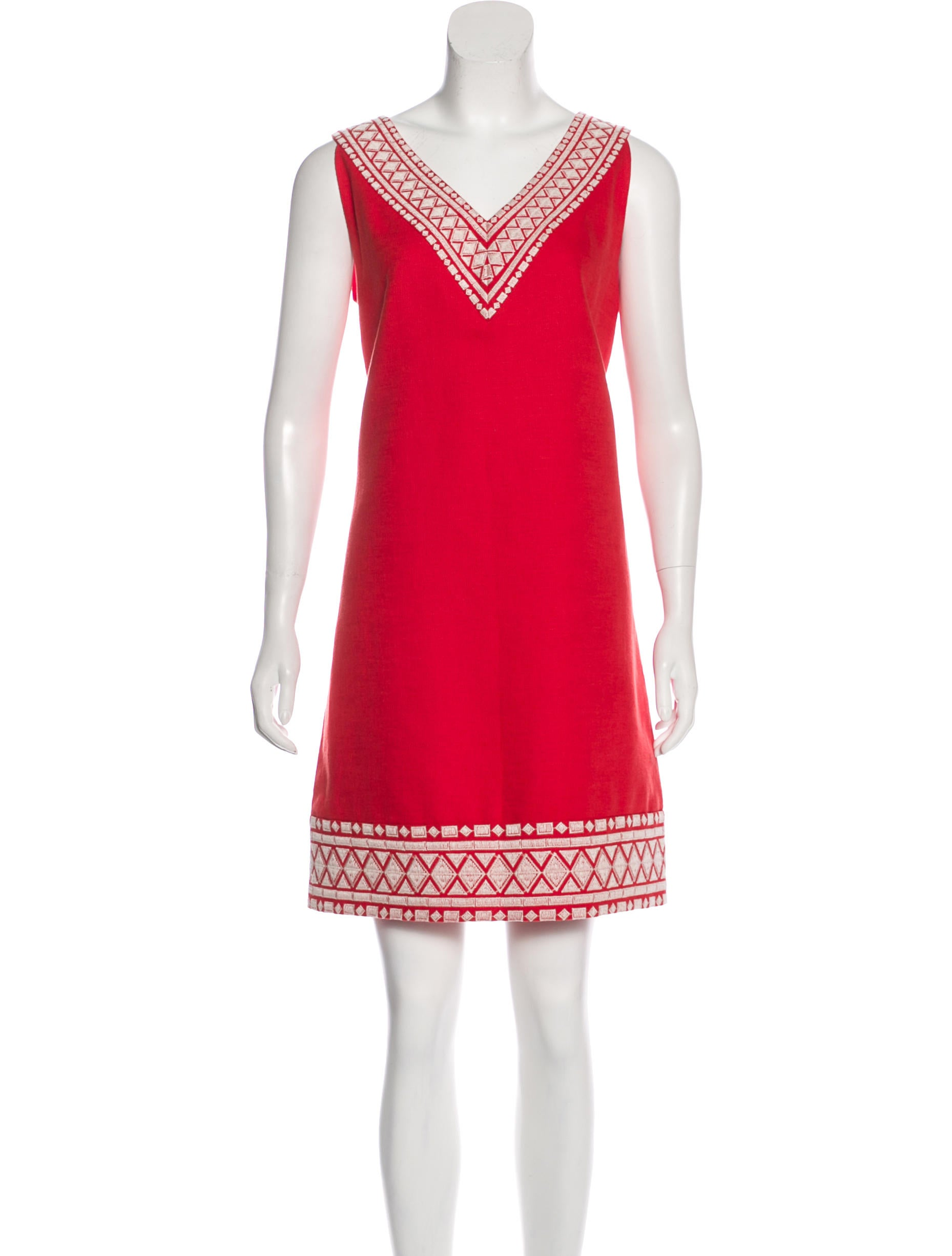 Kate spade new york linen blend embroidered dress