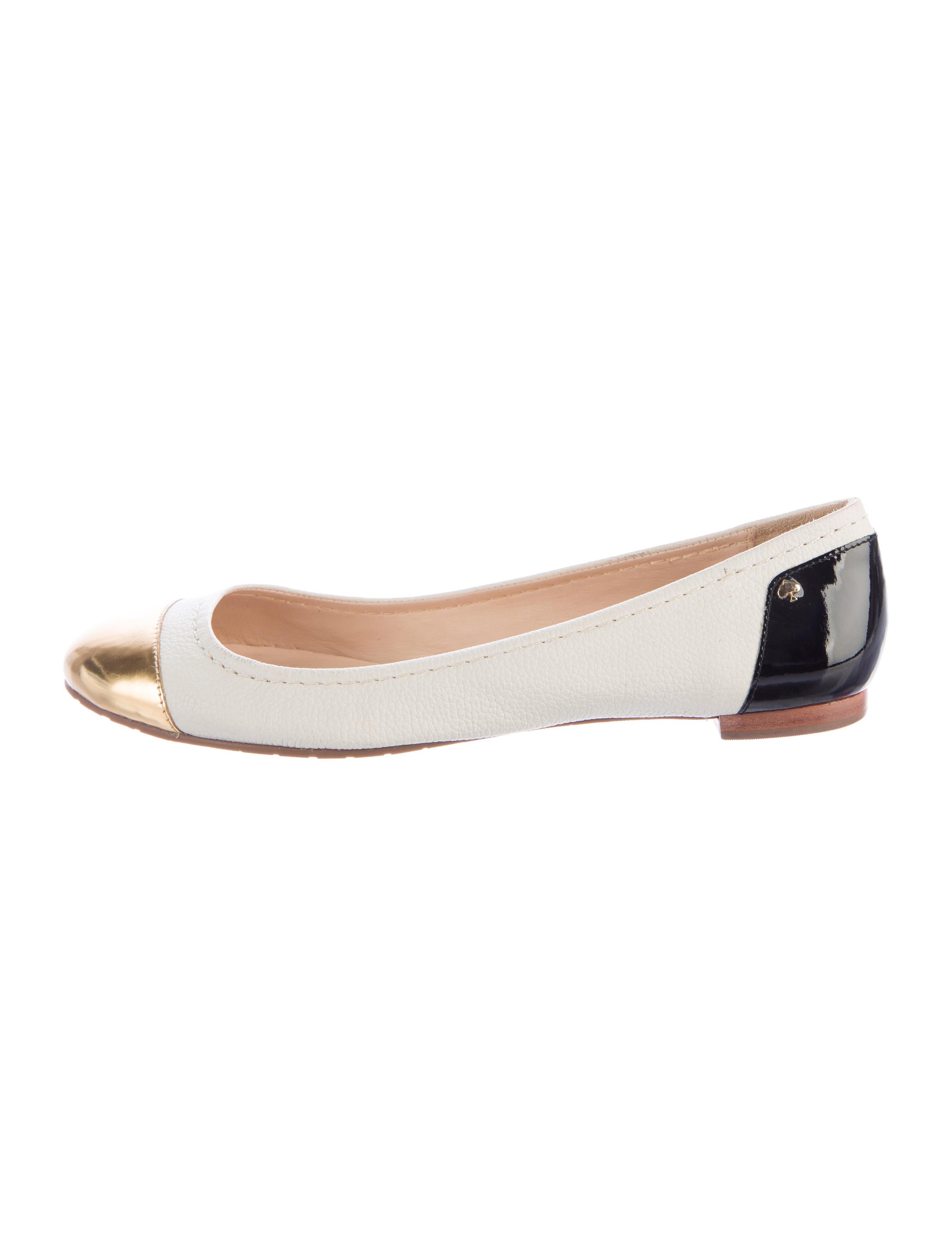 Kate spade new york leather cap toe flats shoes for Kate spade new york flats