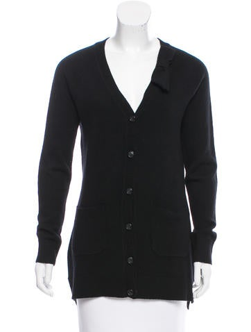 Kate Spade New York Bow-Accented Rib Knit Cardigan None