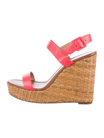 Kate Spade New York Leather Wedge Sandals None