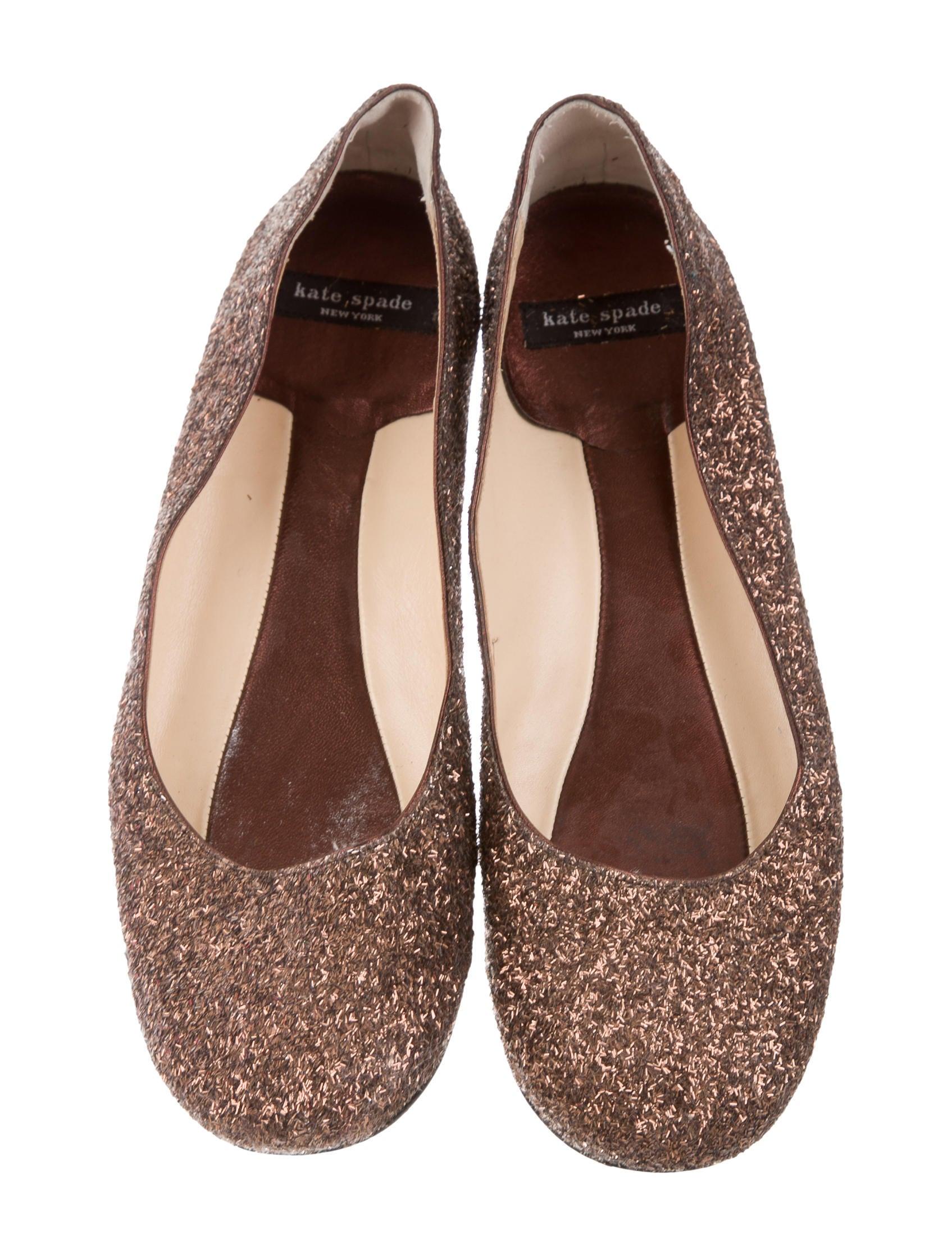 Kate spade new york glitter round toe flats shoes for Kate spade new york flats